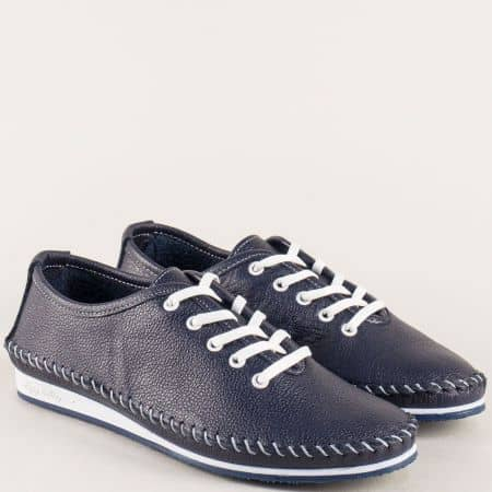 Дамски обувки в син цвят с кожена ортопедична стелка  ma302s