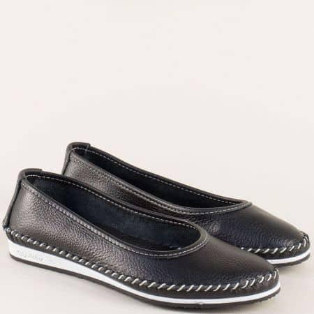 Дамски обувки на равно ходило от естествена кожа в черен цвят ma305ch