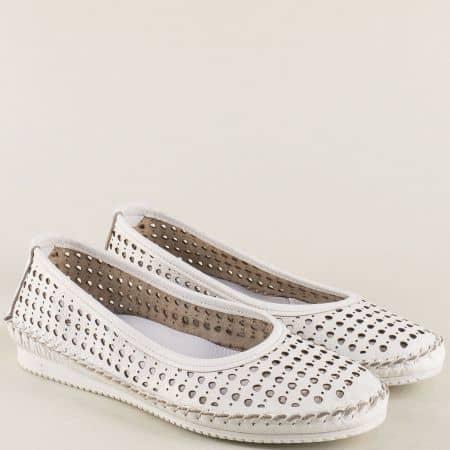 Перфорирани дамски обувки от бяла естествена кожа ma305db