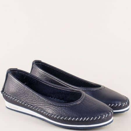 Дамски обувки на равно ходило от естествена кожа в син цвят ma305s