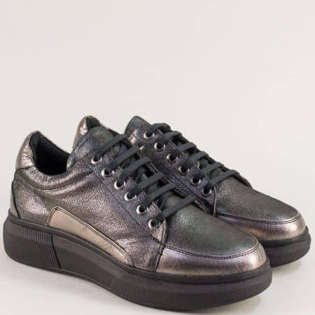 Спортни дамски обувки в цвят бронз от естествена кожа ma308sbrz