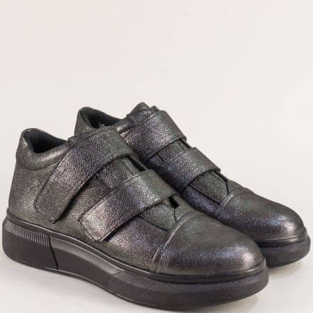 Спортни дамски обувки от естествена кожа в бронз на лека платформа ma309brz