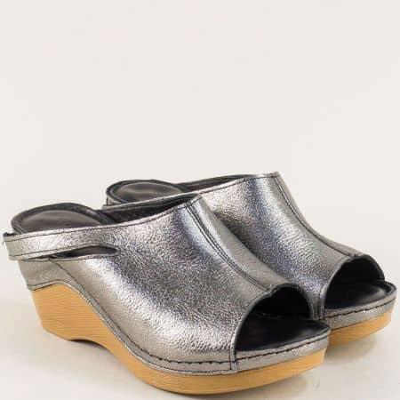 Бронзови дамски чехли на платформа с кожена стелка ma330brz