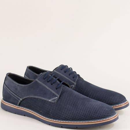 Сини мъжки обувки с перфорация от естествен набук ma377ns