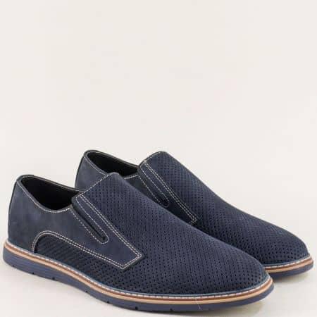 Сини мъжки обувки с два ластика и кожена стелка ma383ns