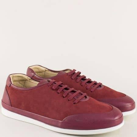 Мъжки обувки от естествен набук и кожа в цвят бордо ma402bd