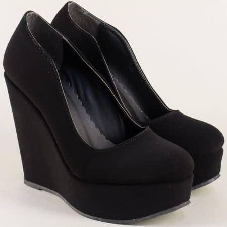 Черни дамски обувки на стилна платформа ma45nch