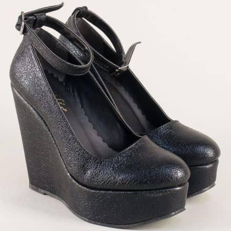 Черни дамски обувки на платформа с катарама ma46ch