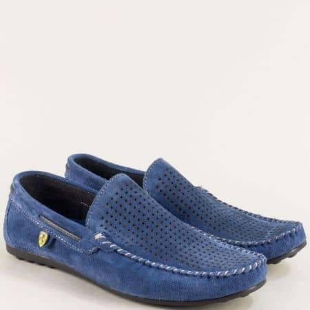 Велурени мъжки мокасини с перфорация в син цвят ma506vs
