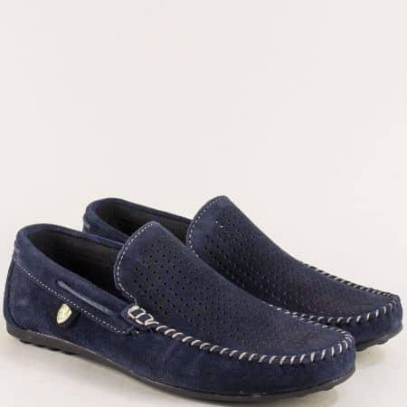 Велурени мъжки мокасини с перфорация в тъмно синьо ma506vts