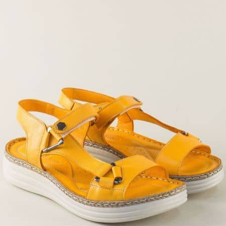 Жълти дамски сандали на шито ходило с кожена стелка ma513j