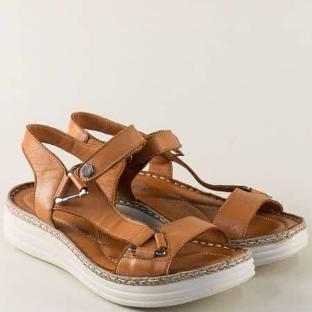 Анатомични дамски сандали от кафява естествена кожа ma513k
