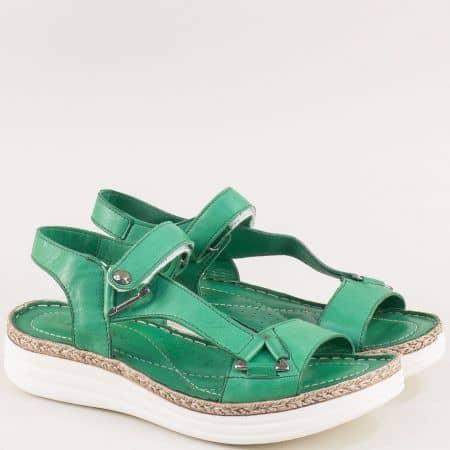 Зелени дамски сандали на платформа с велкро лента ma513z