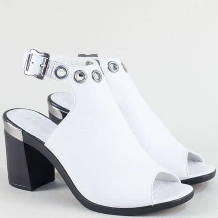 Бели дамски сандали от естествена кожа и сатен на ток ma528sb