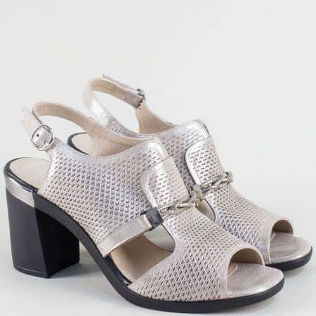 Сиви дамски сандали от естествена кожа и сатен ma536ssv