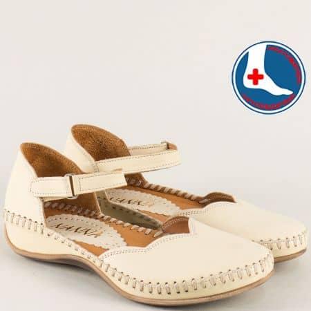 Ортопедични дамски обувки от бежова естествена кожа ma550bj