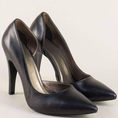 Дамски обувки в черен цвят на елегантен висок ток ma560ch
