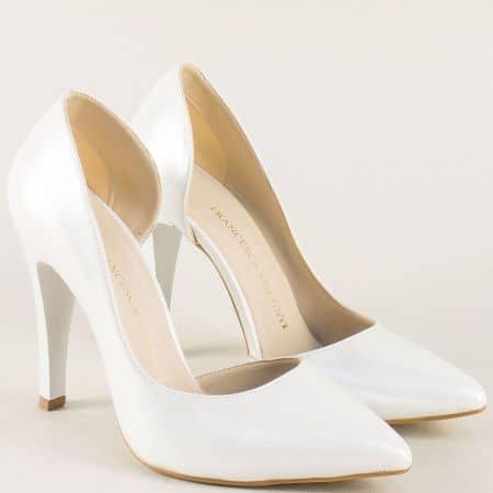 Бели дамски обувки на висок ток с перлен блясък ma560sb