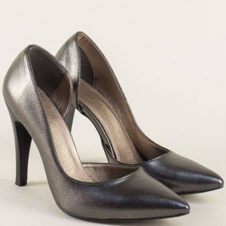Бронзови дамски обувки на висок ток с метален блясък ma560sbrz
