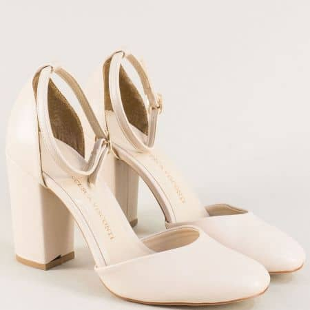 Дамски елегантни обувки в бежов цвят на ток ma596bj