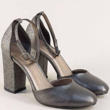 Бронзови дамски сандали на стилен висок ток ma596brz