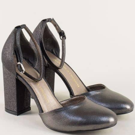 Черни дамски сандали на висок ток с луксозен блясък ma596ch