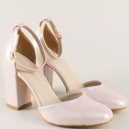 Розови дамски сандали на висок ток с перлен блясък ma596rz
