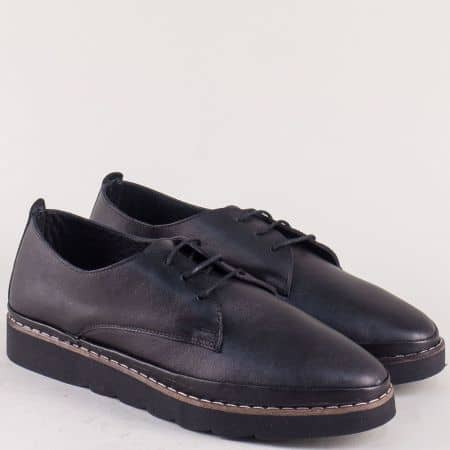 Кожени дамски обувки в черно на равно ходило ma5ch