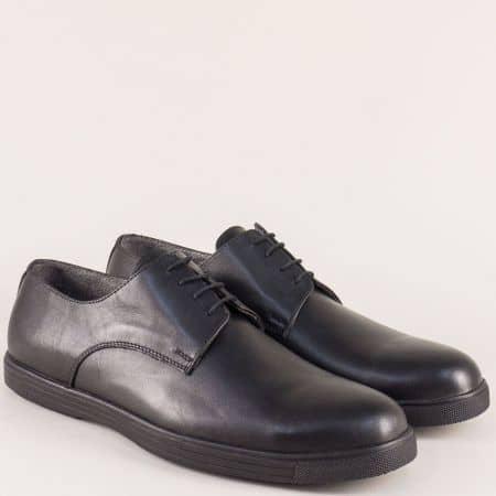 Равни мъжки обувки с връзки от черна естествена кожа  ma60ch