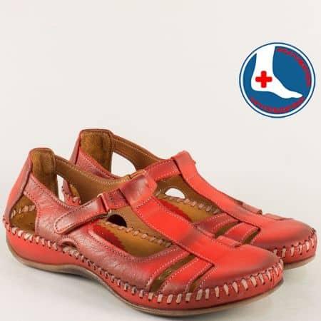 Червени дамски сандали със затворени пръсти и пета ma610chv
