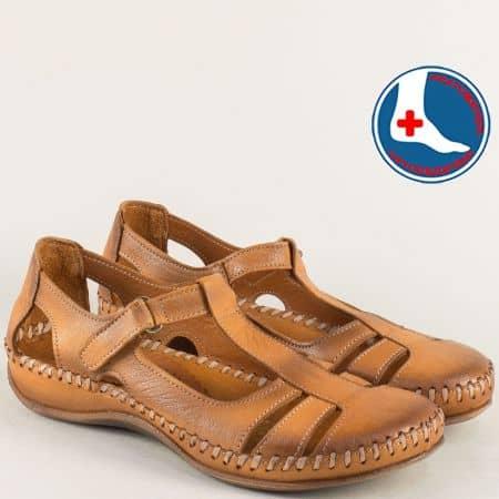 Ортопедични дамски сандали от кафява естествена кожа ma610k