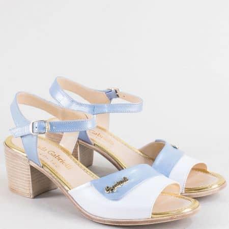 Дамски сандали в синьо и бяло на среден ток с кожена стелка ma612bs