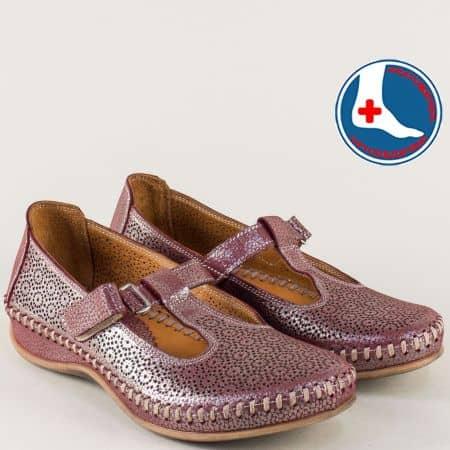 Ортопедични дамски обувки с лепка в цвят бордо ma630bd