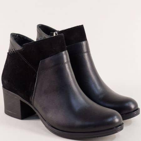Черни дамски боти от естествен велур и кожа на среден ток ma645ch