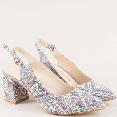 Дамски обувки в бяло, синьо, лилаво, зелено и червено ma698bps