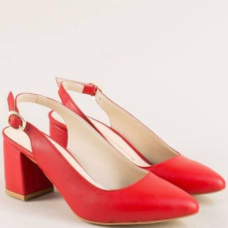 Червени дамски обувки с кожена стелка на висок ток ma698echv