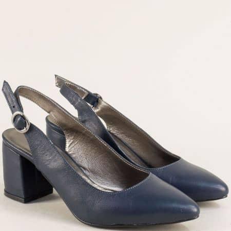 Тъмно сини дамски обувки с отворена пета на висок ток ma698es