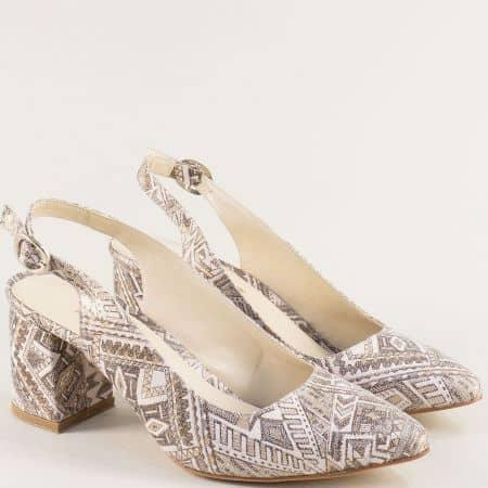 Дамски обувки в бяло, кафяво и бежово с ефектен принт ma698kps