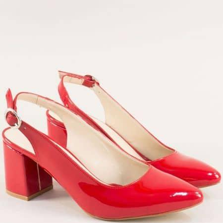 Червени дамски обувки с отворена пета и висок ток ma698lchv