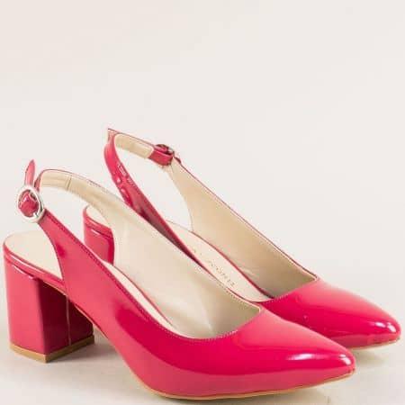 Цикламени дамски обувки с отворена пета и висок ток ma698lck