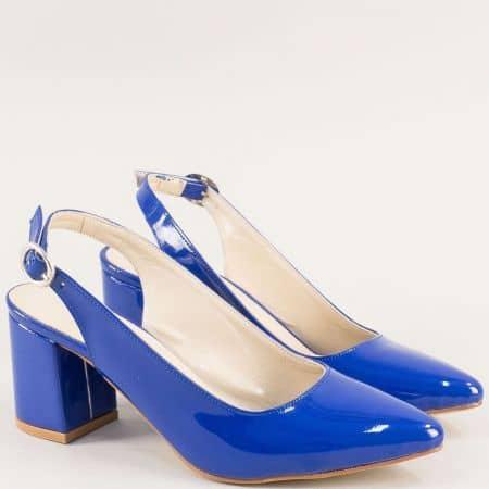 Сини дамски обувки с отворена пета на висок ток ma698ls