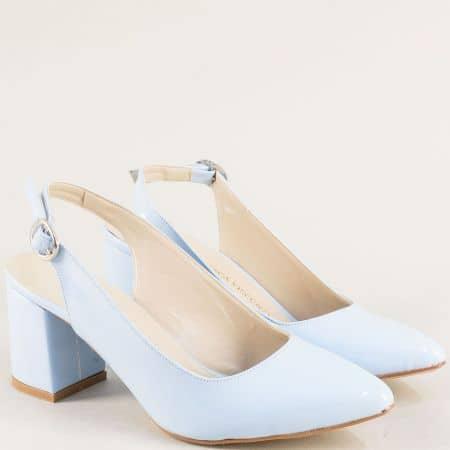 Светло сини дамски обувки с отворена пета на висок ток ma698lss