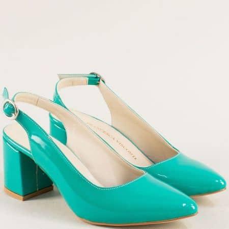 Тюркоазено зелени дамски обувки с отворена пета ma698ltz