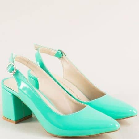 Дамски обувки на стабилен висок ток в светло зелен цвят ma698lz