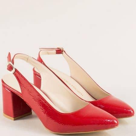 Дамски обувки с отворена пета и висок ток в червено ma698mlchv