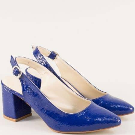 Дамски обувки с отворена пета и заострен връх в синьо ma698mls