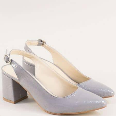 Дамски обувки с отворена пета на висок ток в сив цвят ma698mlsv