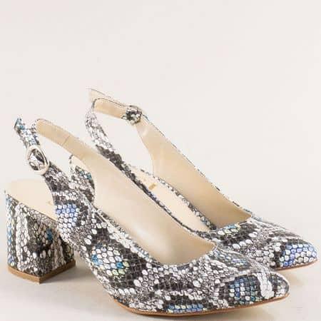 Дамски обувки в бяло, синьо и черно със змийски принт ma698ps