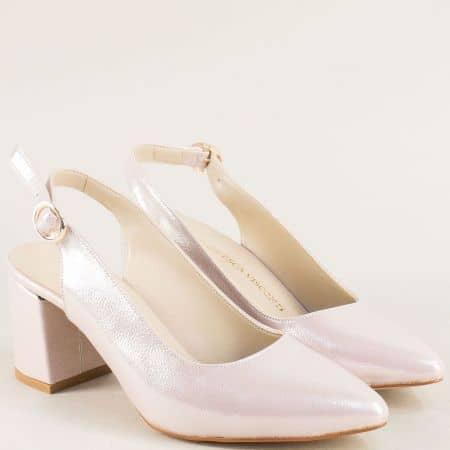 Розови дамски обувки с перлен блясък на висок ток ma698srz