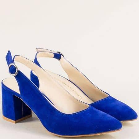 Дамски обувки с отворена пета на висок ток в син цвят ma698vs